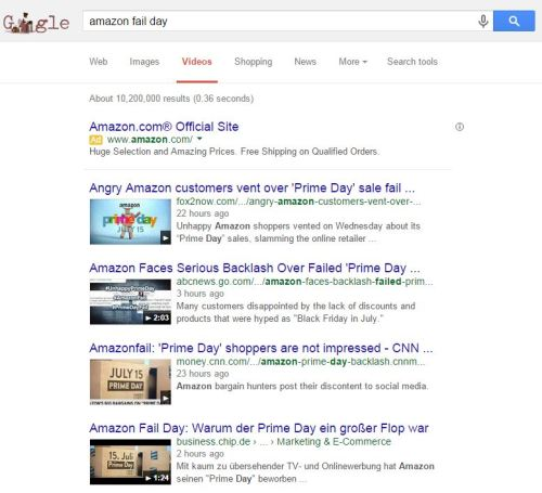 "Amazon has paid for an ad to appear at the top of the search results for ""Amazon Fail Day"""